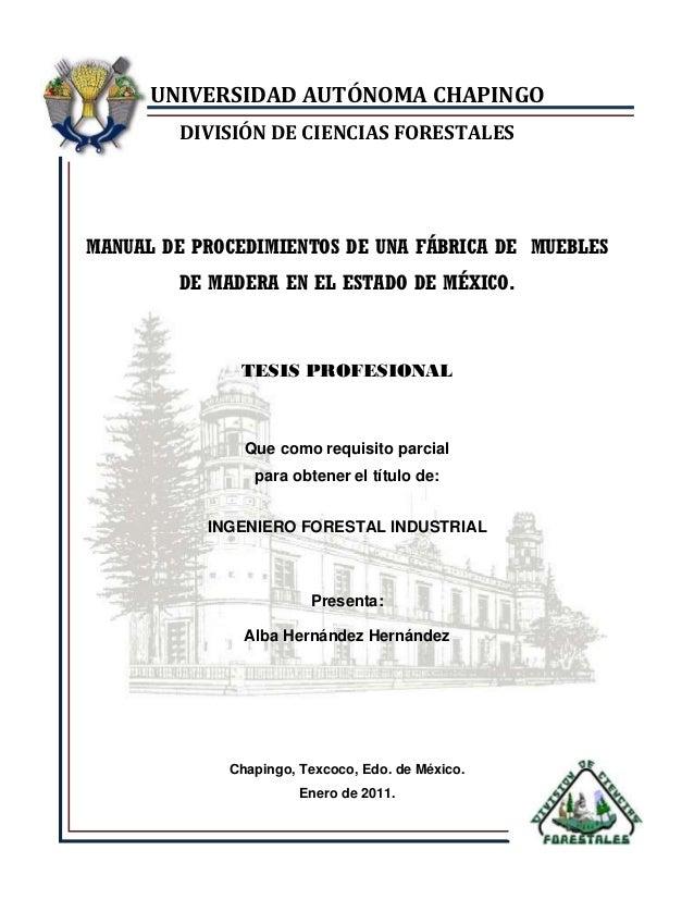 UNIVERSIDAD AUTÓNOMA CHAPINGO DIVISIÓN DE CIENCIAS FORESTALES  MANUAL DE PROCEDIMIENTOS DE UNA FÁBRICA DE MUEBLES DE MADER...