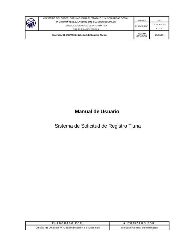 MINISTERIO DEL PODER POPULAR PARA EL TRABAJO Y LA SEGURIDAD SOCIAL INSTITUTO VENEZOLANO DE LOS SEGUROS SOCIALES DIRECCIÓN ...