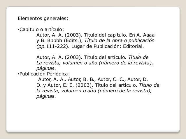 Elementos generales: •Capitulo o artículo: Autor, A. A. (2003). Título del capítulo. En A. Aaaa y B. Bbbbb (Edits.), Títul...