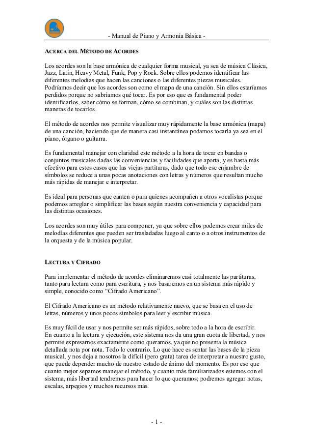 Manual De Piano Y Armonia Basica Completo