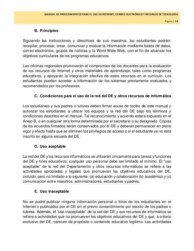 Manual de procedimientos para el uso de internet correo for Correo la 14