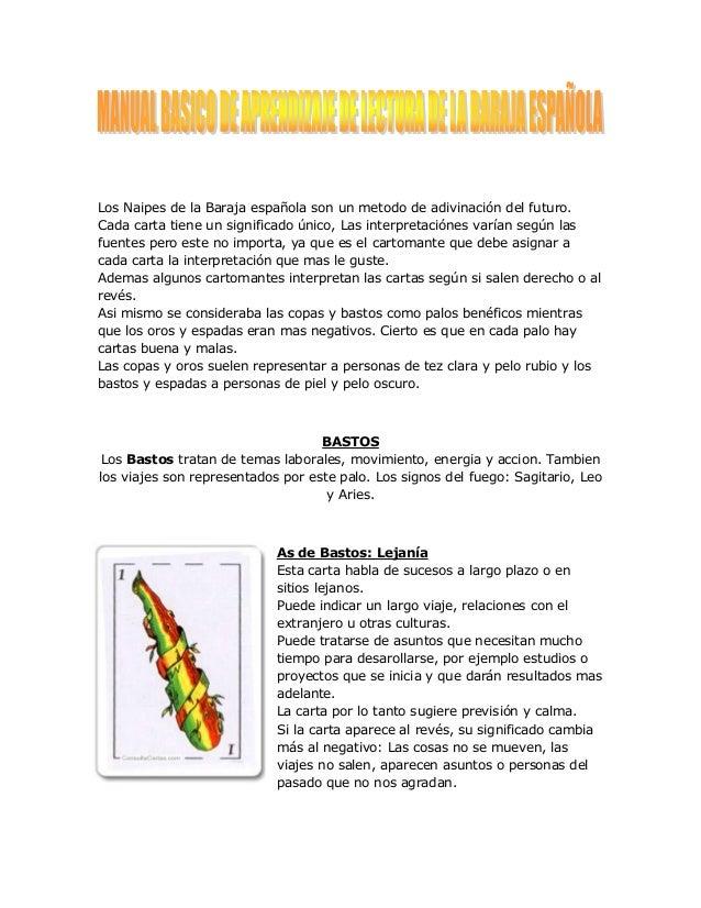 manual basico de aprendizaje de lectura de la baraja espanola