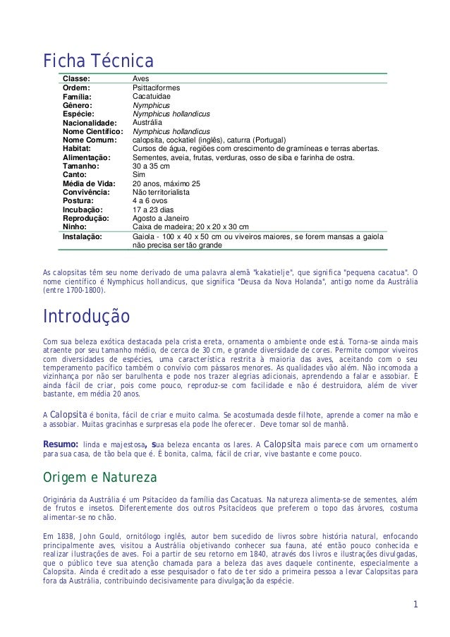 1 Ficha Técnica Classe: Aves Ordem: Psittaciformes Família: Cacatuidae Gênero: Nymphicus Espécie: Nymphicus hollandicus Na...