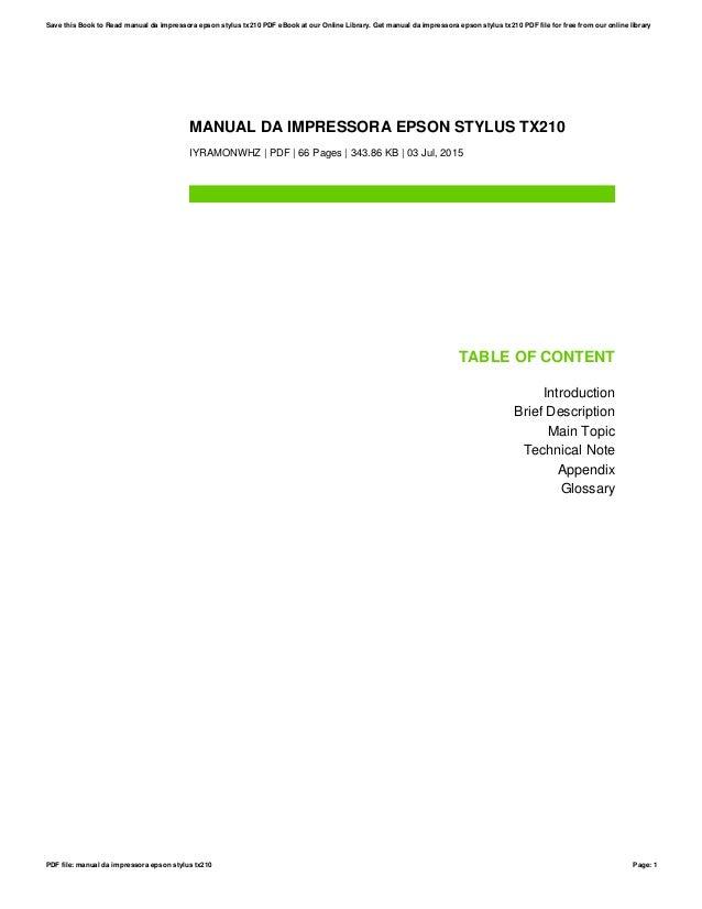manual da impressora epson stylus tx210 rh slideshare net Instalar Impressora Epson Instalar Impressora Epson Stylus Tx125