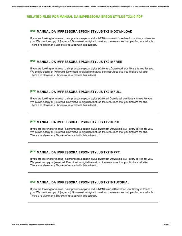 manual da impressora epson stylus tx210 rh slideshare net manual da impressora epson stylus tx210 Nova Impressora Epson