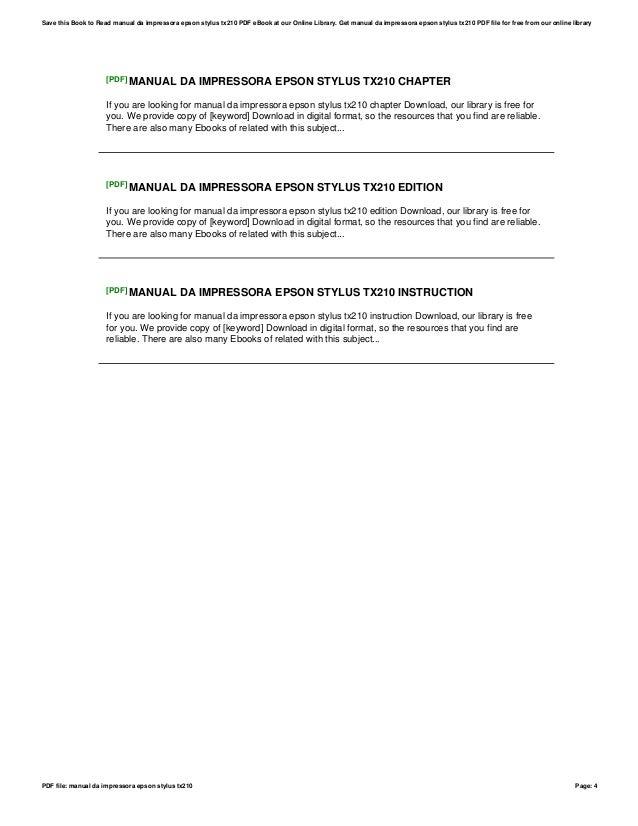 manual da impressora epson stylus tx210 ebook