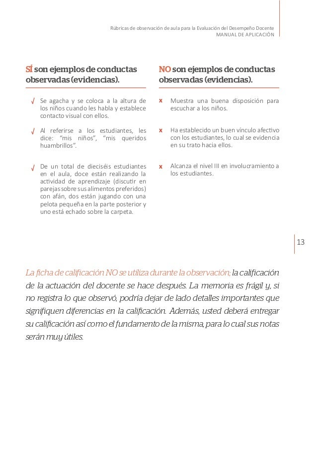 13 Rúbricas de observación de aula para la Evaluación del Desempeño Docente MANUAL DE APLICACIÓN La ficha de calificación ...