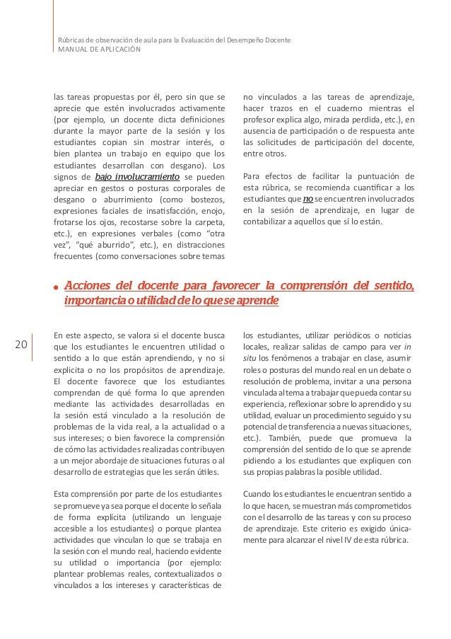 20 Rúbricas de observación de aula para la Evaluación del Desempeño Docente MANUAL DE APLICACIÓN las tareas propuestas por...