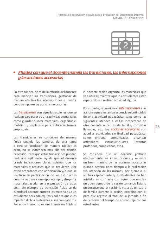 25 Rúbricas de observación de aula para la Evaluación del Desempeño Docente MANUAL DE APLICACIÓN Fluidez con que el docent...