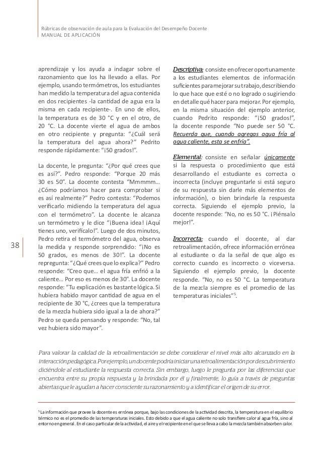 38 Rúbricas de observación de aula para la Evaluación del Desempeño Docente MANUAL DE APLICACIÓN aprendizaje y los ayuda a...