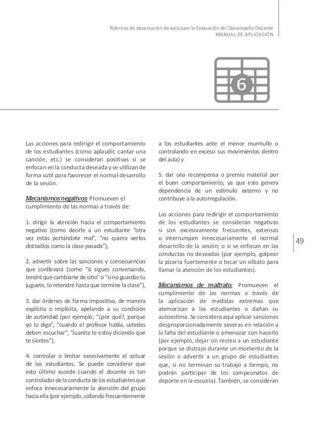 49 Rúbricas de observación de aula para la Evaluación del Desempeño Docente MANUAL DE APLICACIÓN Las acciones para redirig...