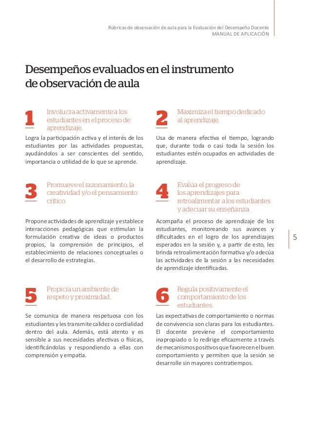5 Rúbricas de observación de aula para la Evaluación del Desempeño Docente MANUAL DE APLICACIÓN Desempeñosevaluadosenelins...