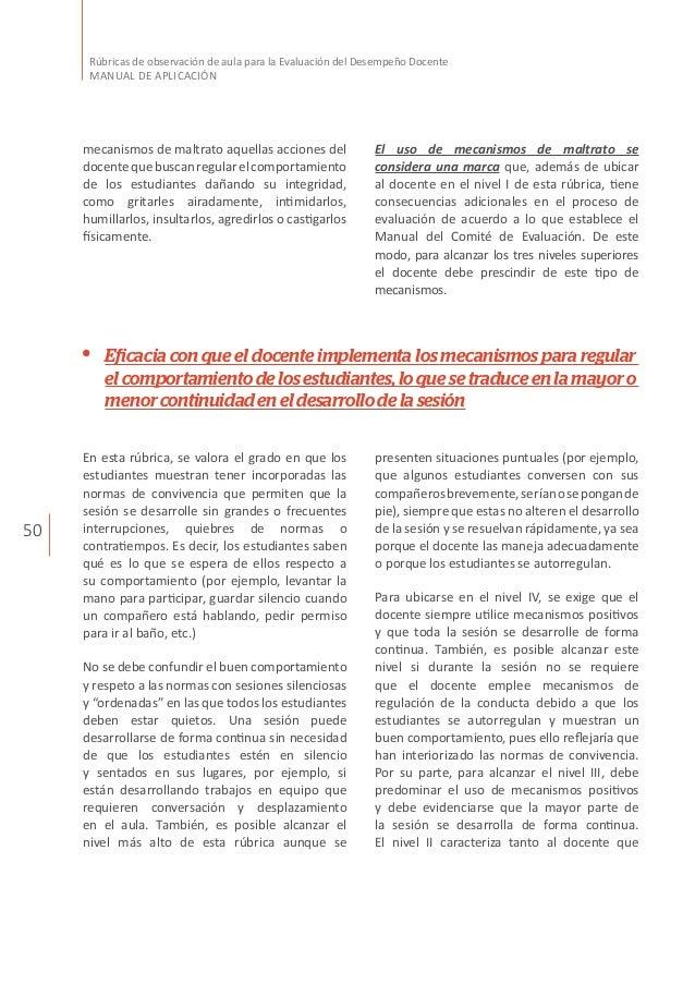 50 Rúbricas de observación de aula para la Evaluación del Desempeño Docente MANUAL DE APLICACIÓN mecanismos de maltrato aq...