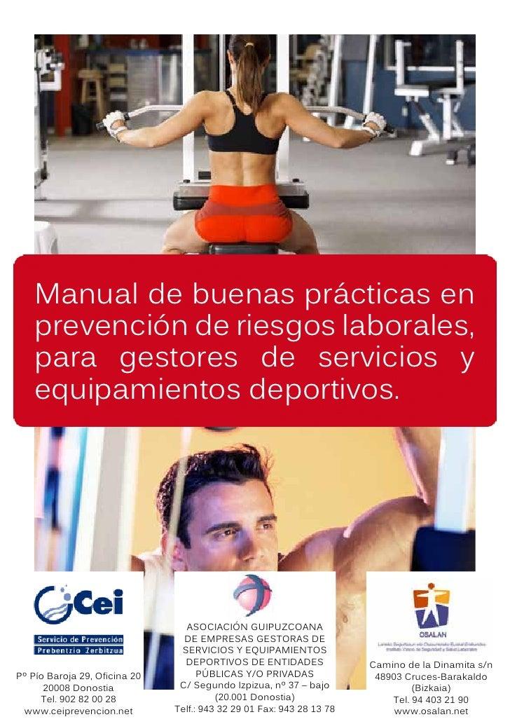 Manual de buenas prácticas en     prevención de riesgos laborales,     para gestores de servicios y     equipamientos depo...