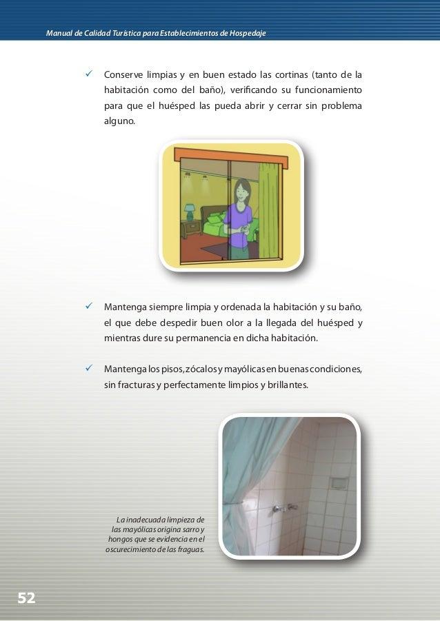 Manual de calidad tur stica para establecimientos de hospedaje for Como quitar el sarro del piso del bano