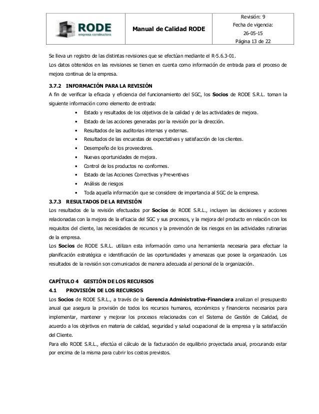 Manual de calidad rode constructora for Empresas constructoras