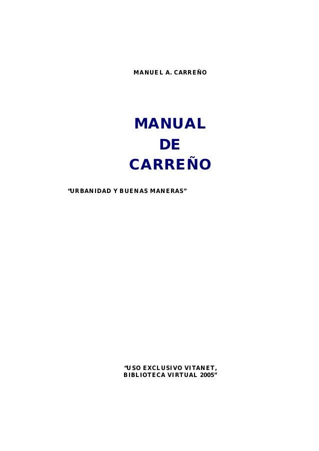 manual de urbanidad de carre o rh slideshare net Manual De Carreno gratis PDF Completo Manual De Carreno