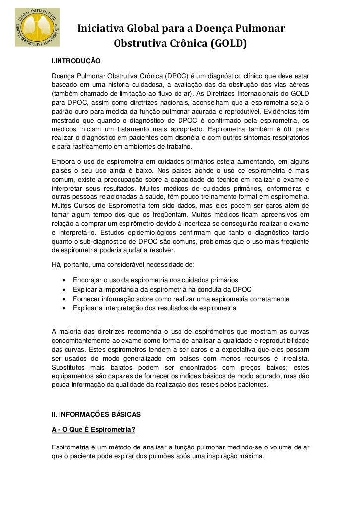 Iniciativa Global para a Doença Pulmonar                Obstrutiva Crônica (GOLD)I.INTRODUÇÃODoença Pulmonar Obstrutiva Cr...