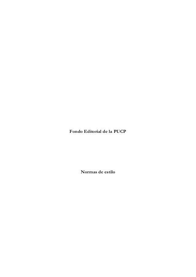 Fondo Editorial de la PUCP Normas de estilo