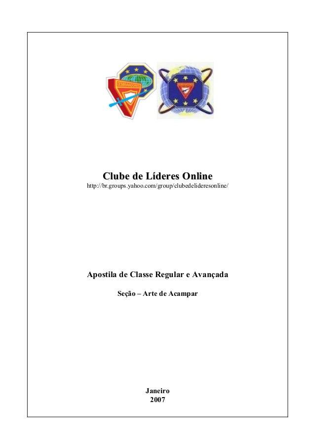 Clube de Líderes OnlineClube de Líderes Onlinehttp://br.groups.yahoo.com/group/clubedelideresonline/Apostila de Classe Reg...