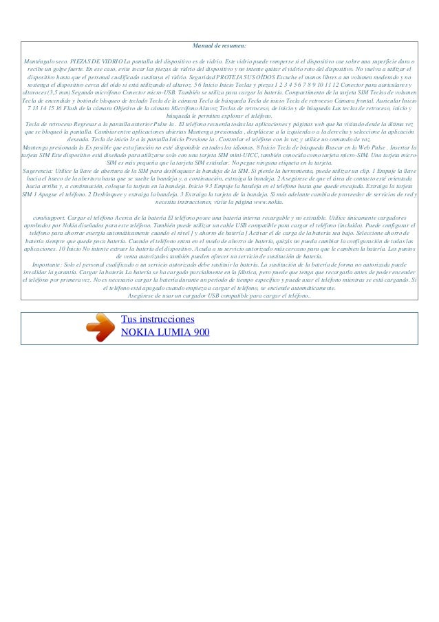 Manual de instrucciones nokia lumia 900 s