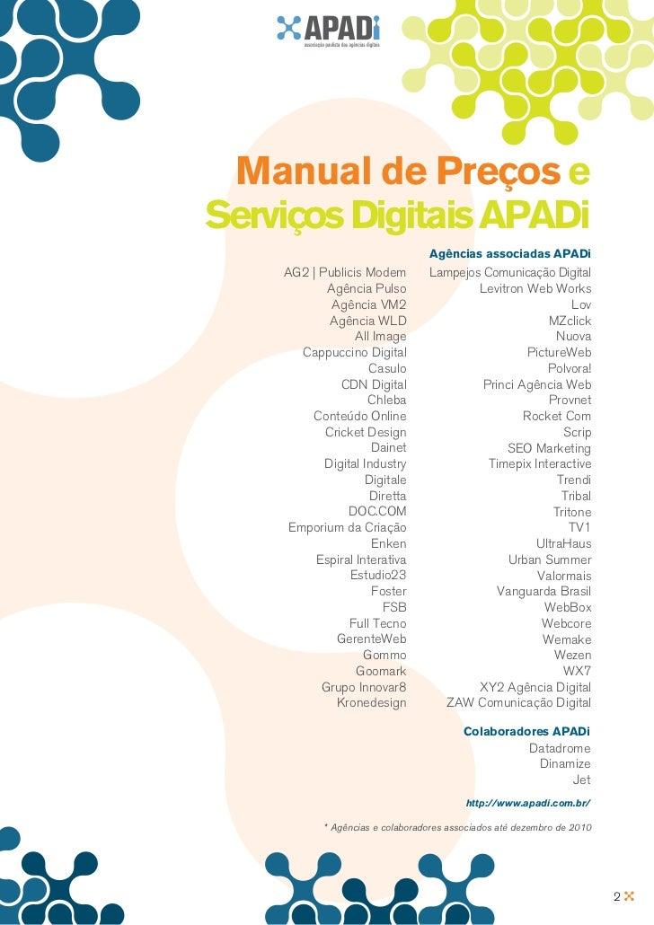 Manual de Preços eServiços Digitais APADi                                 Agências associadas APADi    AG2 | Publicis Mode...