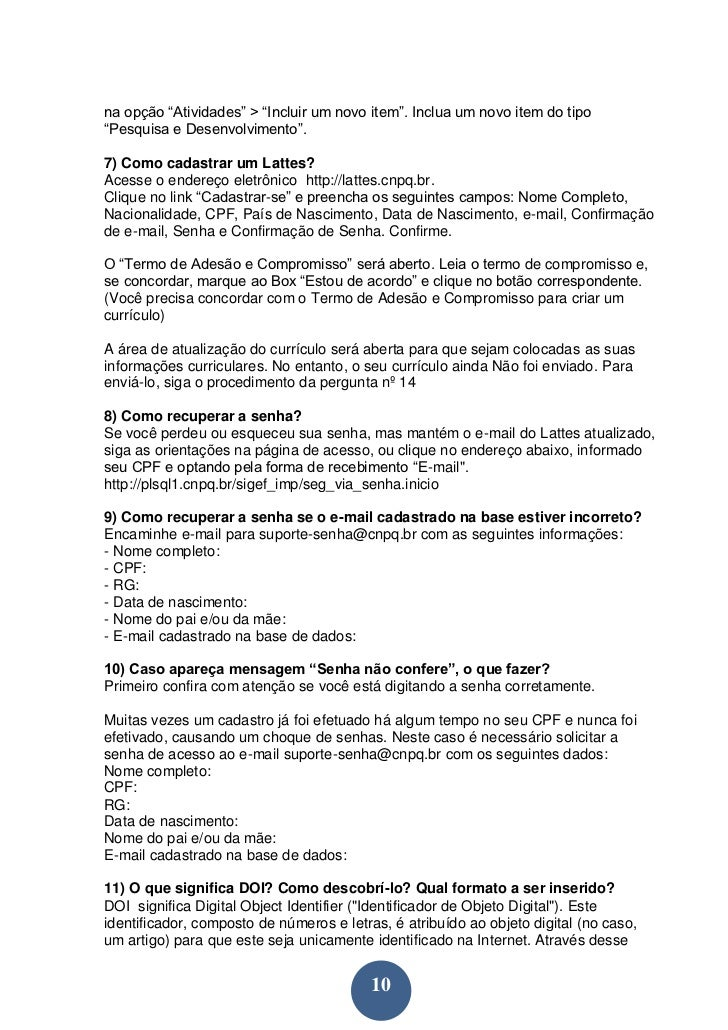 curriculum vitae (formato lattes) documentado