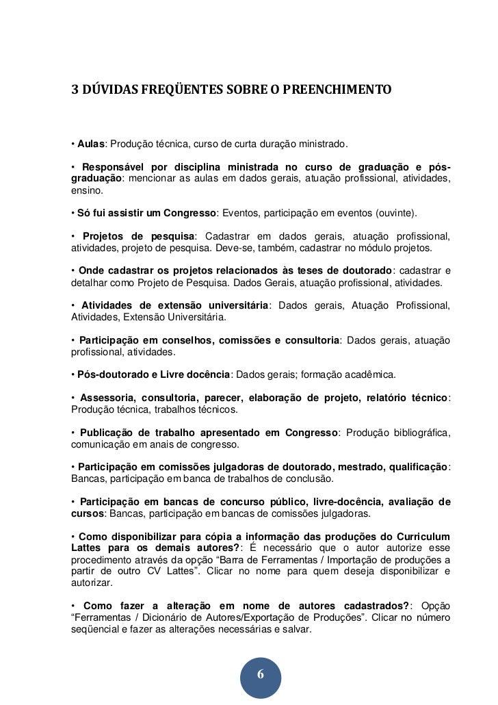 Manual de preenchimento do Currículo Lattes 09e0dfc3bdff9