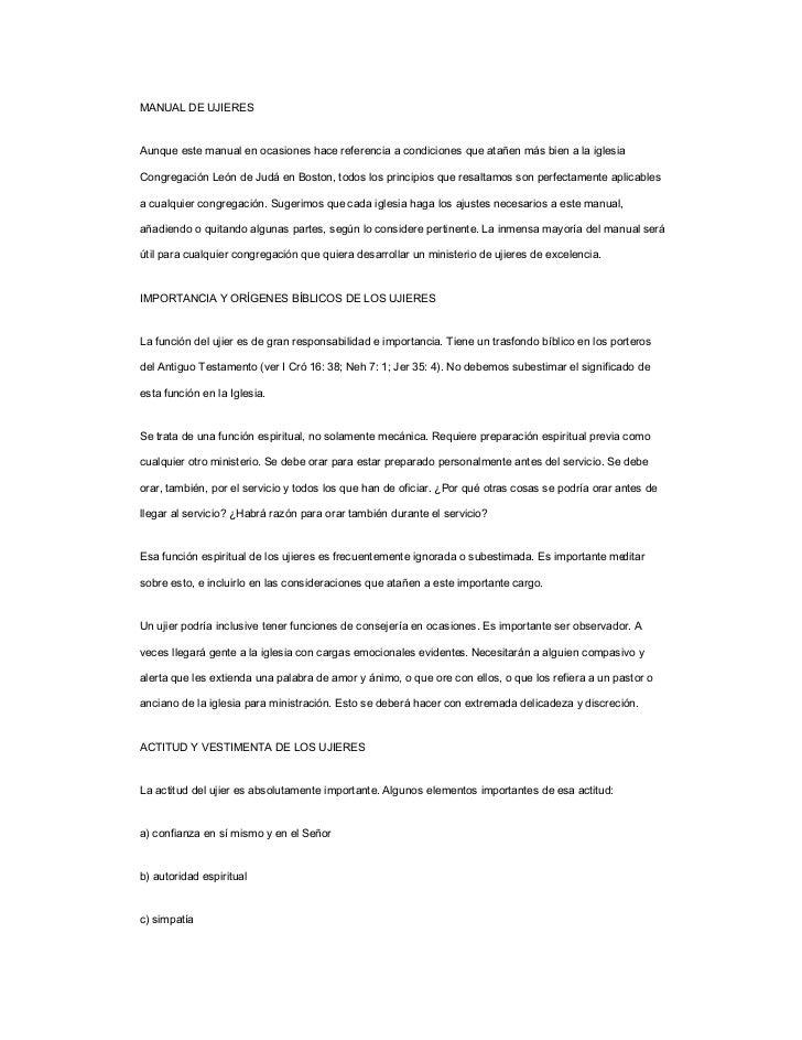 MANUAL DE UJIERESAunque este manual en ocasiones hace referencia a condiciones que atañen más bien a la iglesiaCongregació...