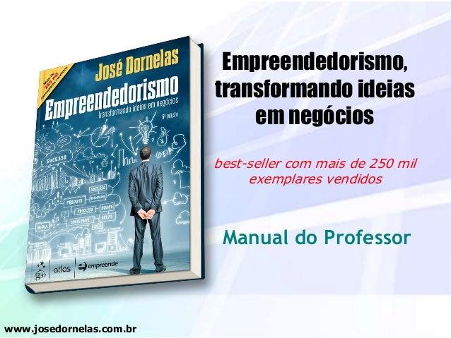 Empreendedorismo, transformando ideias em negócios best-seller com mais de 250 mil exemplares vendidos Manual do Professor...