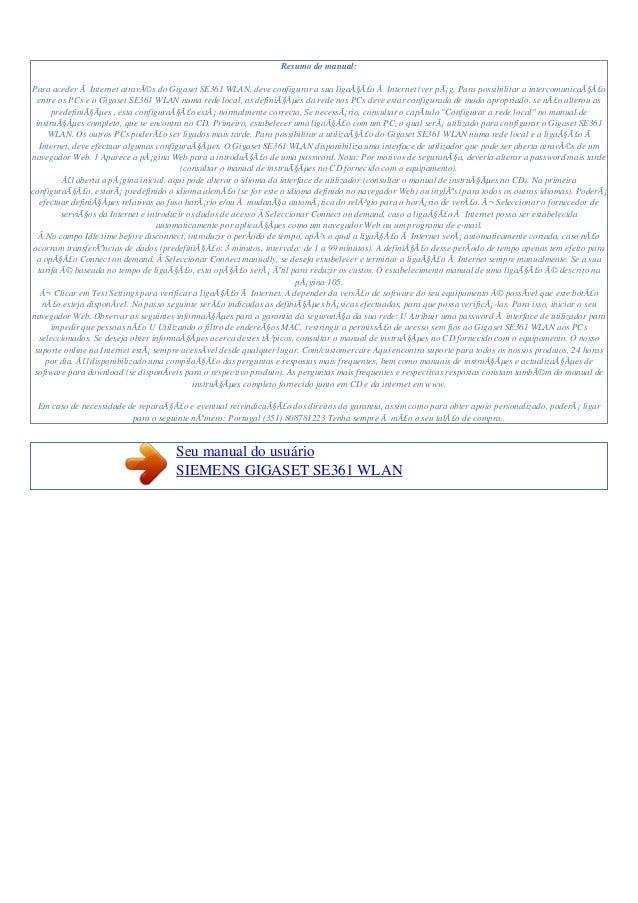 Manual do-usuário-siemens-gigaset se361 wlan-p