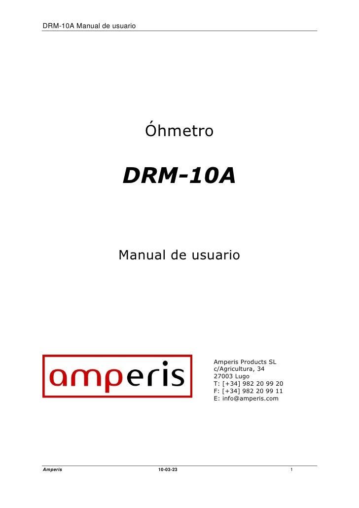 DRM-10A Manual de usuario                                 Óhmetro                        DRM-10A                       Man...