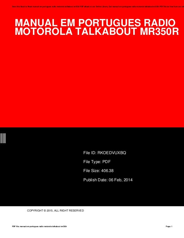 manual em portugues radio motorola talkabout mr350r rh slideshare net motorola talkabout mr350r manual portugues motorola talkabout mr350r manual portugues pdf