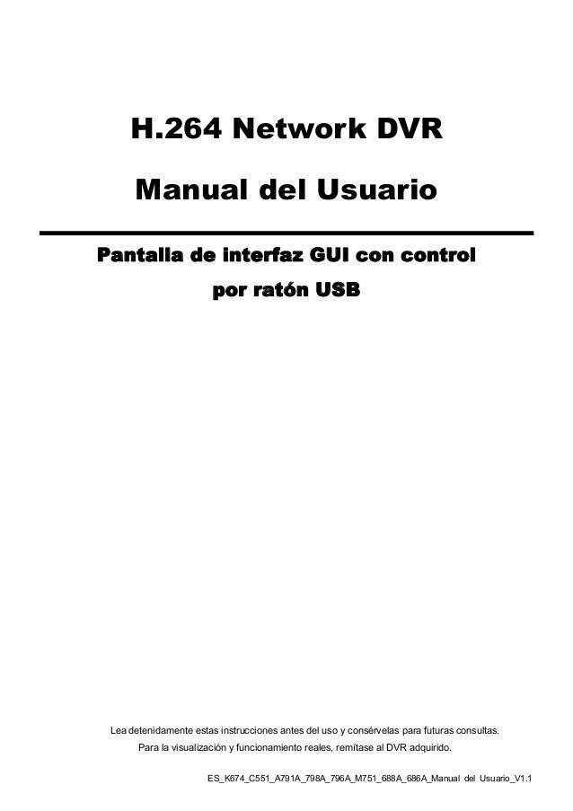 H.264 Network DVR      Manual del UsuarioPantalla de interfaz GUI con control                        por ratón USB Lea det...