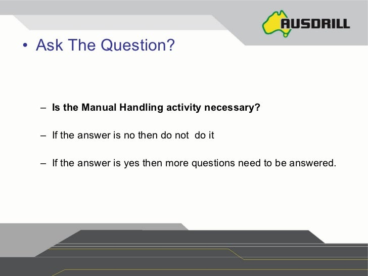 manual handling ppt rh slideshare net manual handling course test questions and answers Process Manual