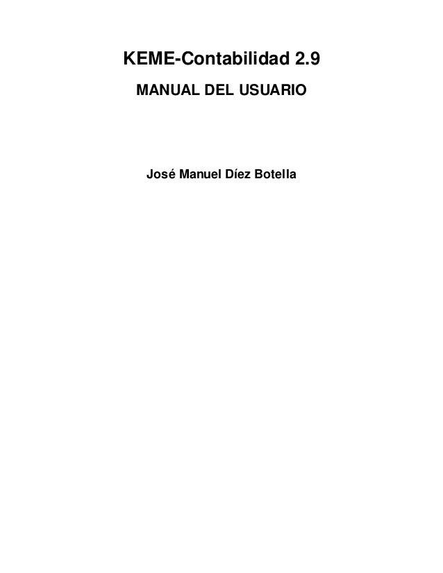 KEME-Contabilidad 2.9 MANUAL DEL USUARIO  José Manuel Díez Botella