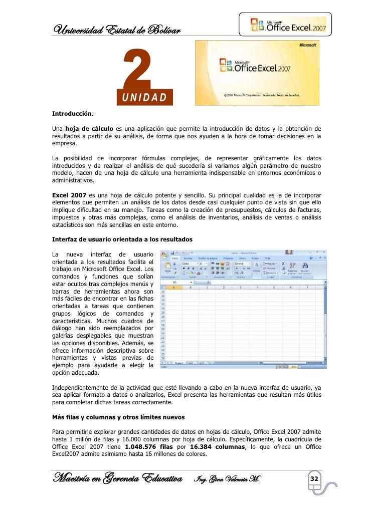 Universidad Estatal de Bolívar                               UNIDAD Introducción.  Una hoja de cálculo es una aplicación q...