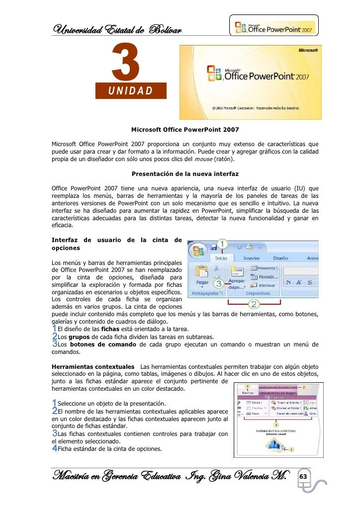 Universidad Estatal de Bolívar                        UNIDAD                                Microsoft Office PowerPoint 20...
