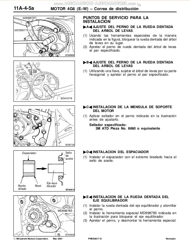 manual motor sirius 4g6 mitsubishi especificaciones herramientas desm rh slideshare net manual de motor xud9 pdf manual de motor xud9 pdf