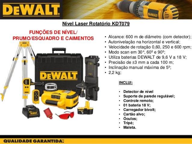 Nível Laser Rotatório KDT079  INCLUI:  •Detector de nível  •Suporte de parede regulável;  •Controle remoto;  •01 bateria 1...