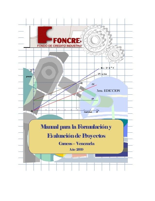 Daniel Peña I precio Cantidad x I= p * x CF CV CT= a+bx 0 <=PE Manual para laFormulacióny Evaluaciónde Proyectos Caracas– ...