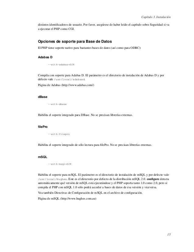 Capítulo 3. Instalacióndistintos identificadores de usuario. Por favor, asegúrese de haber leído el capítulo sobre Segurida...