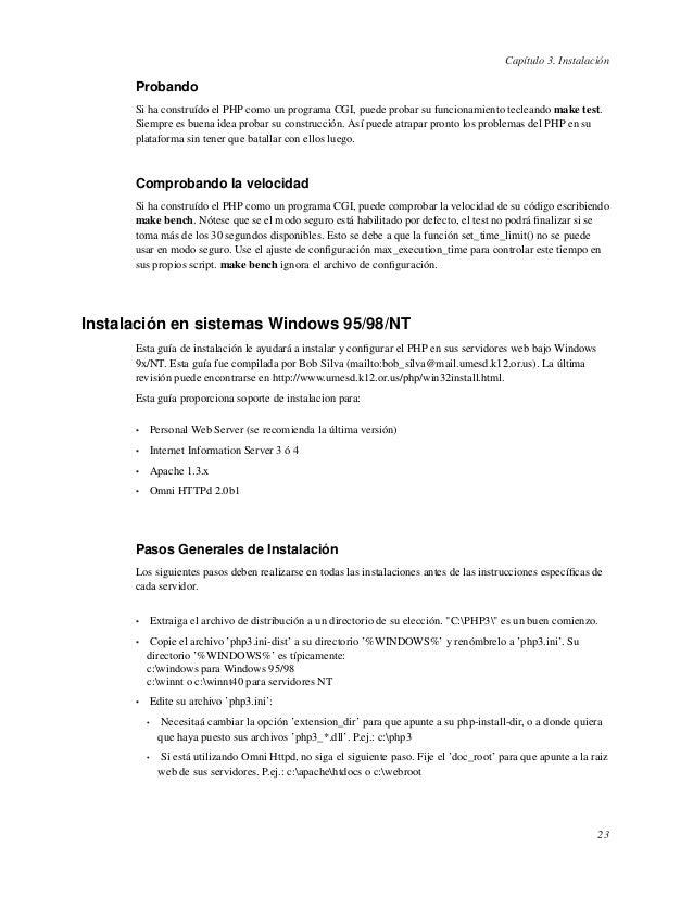 Capítulo 3. InstalaciónProbandoSi ha construído el PHP como un programa CGI, puede probar su funcionamiento tecleando make...