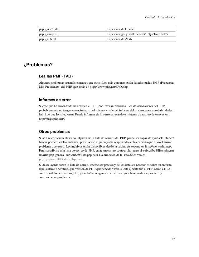 Capítulo 3. Instalaciónphp3_oci73.dll Funciones de Oraclephp3_snmp.dll Funciones get y walk de SNMP (¡sólo en NT!)php3_zli...