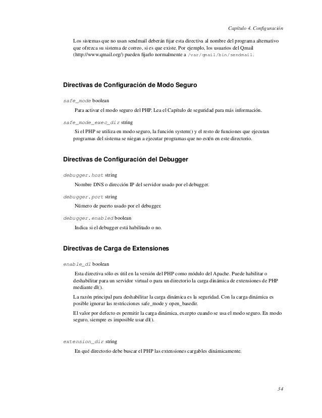 Capítulo 4. ConfiguraciónLos sistemas que no usan sendmail deberán fijar esta directiva al nombre del programa alternativoqu...
