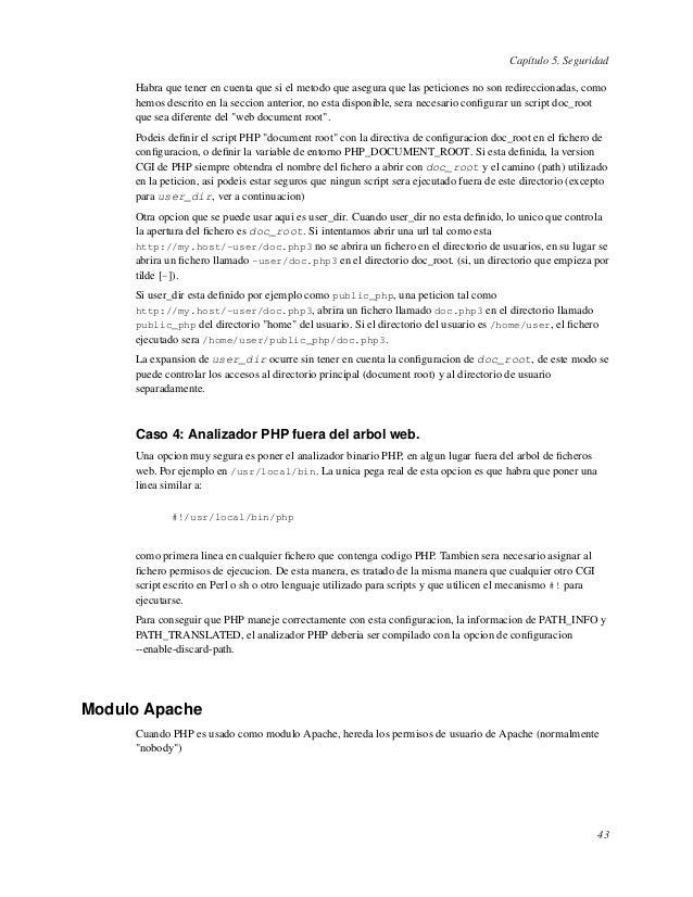 Capítulo 5. SeguridadHabra que tener en cuenta que si el metodo que asegura que las peticiones no son redireccionadas, com...