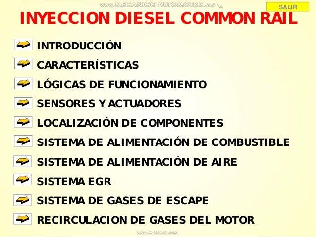 INYECCION DIESEL COMMON RAIL INTRODUCCIÓN CARACTERÍSTICAS LÓGICAS DE FUNCIONAMIENTO SENSORES Y ACTUADORES SISTEMA DE ALIME...