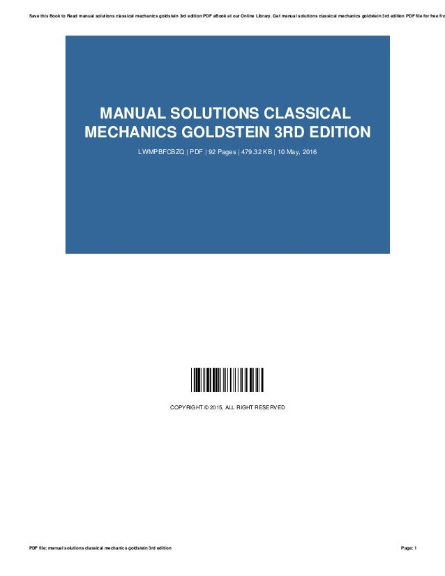Manual Solutions Classical Mechanics Goldstein 3rd Edition