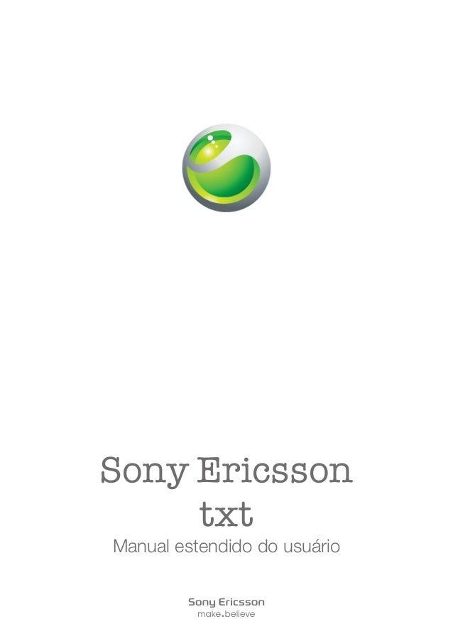 Sony Ericsson txt Manual estendido do usuário