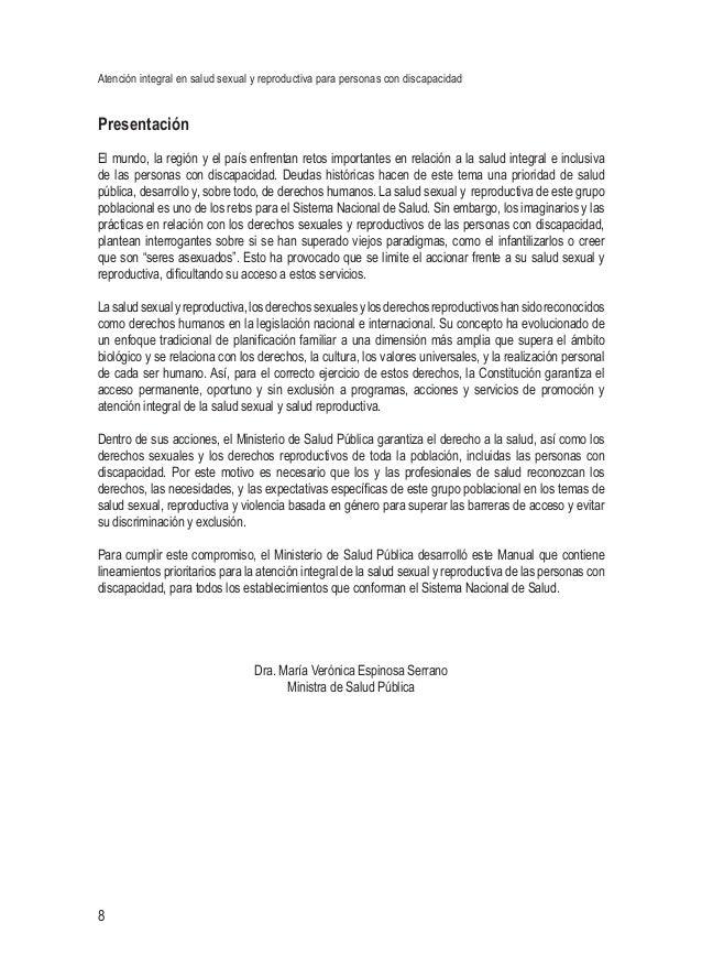 Atención integral en salud sexual y reproductiva para personas con discapacidad 8 Presentación El mundo, la región y el pa...